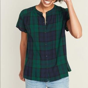 Old Navy Green & Navy Blue Plaid Button Down Top